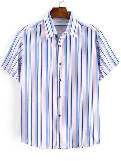 Striped Print Button Down Shirt - Ocean Blue 3xl