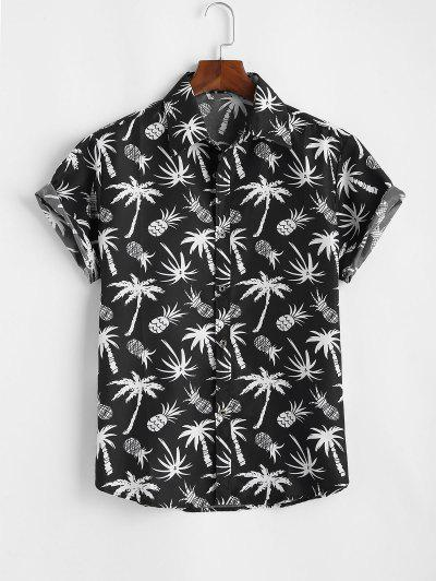 Palm Tree Pineapple Print Vacation Shirt - Black L