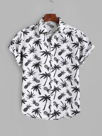 Palm Tree Pineapple Print Vacation Shirt - White 2xl