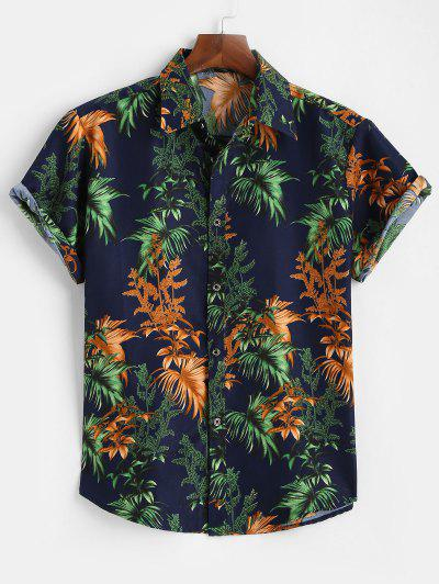 Tropical Leaves Short Sleeve Button Up Shirt - Deep Blue M