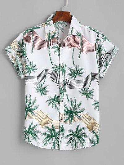 Hawaiian Short Sleeves Palm Tree Stripes Print Shirt - White L