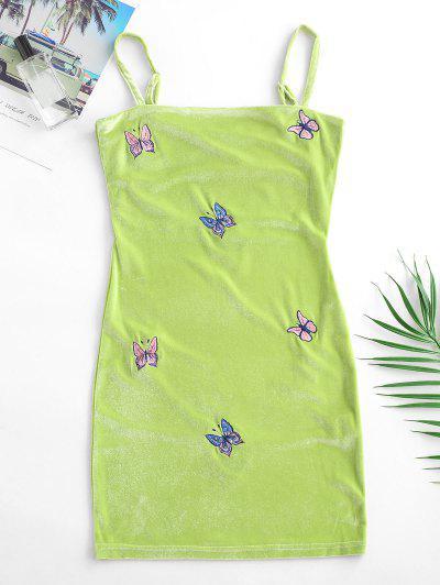 Velvet Butterfly Embroidered Bodycon Dress - Light Green L