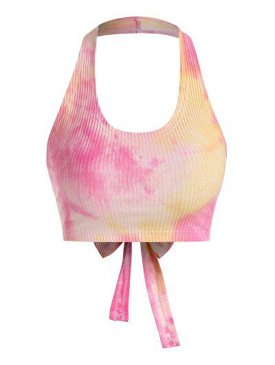 ZAFUL Tie Dye Halter Ribbed Crop Tank Top - Multi-d L