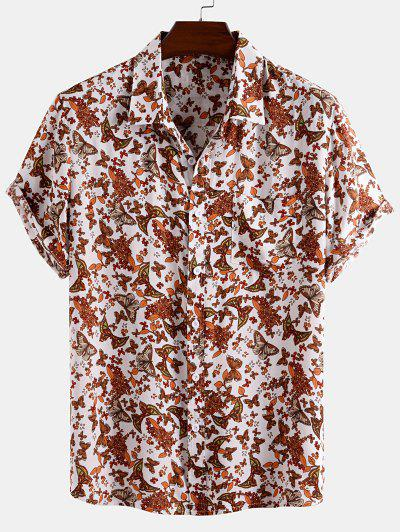 Ditsy Butterfly Print Pocket Vacation Shirt - White Xl