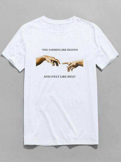ZAFUL Letter Helping Hand Printed T-shirt - White S