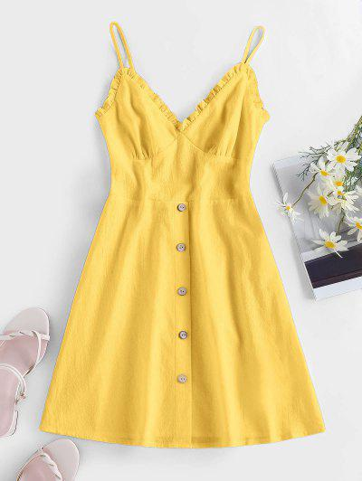 ZAFUL Frilled Buttoned Smocked Sundress - Yellow S