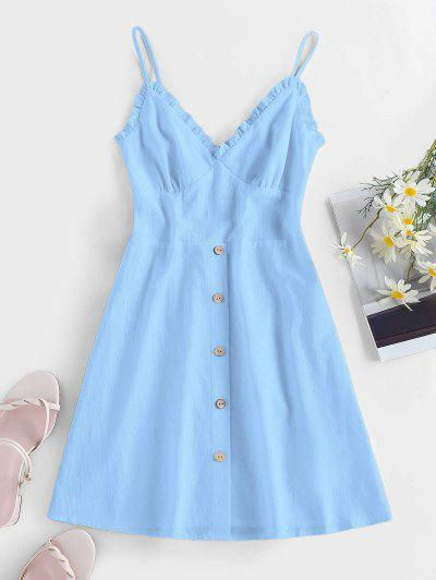 ZAFUL Frilled Buttoned Smocked Sundress - Light Blue L