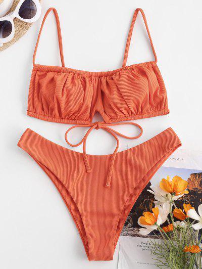 ZAFUL Ribbed Tie Detail Ruched Bikini Swimwear - Orange M