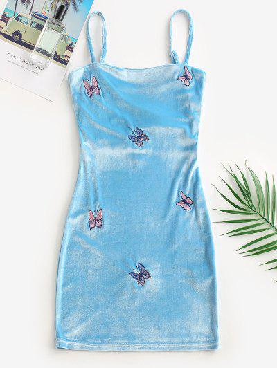 Velvet Butterfly Embroidered Bodycon Dress - Light Blue L