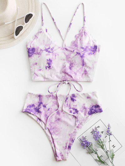 ZAFUL Ribbed Tie Dye Lace Up Scalloped Tankini Swimwear - Purple 2xl