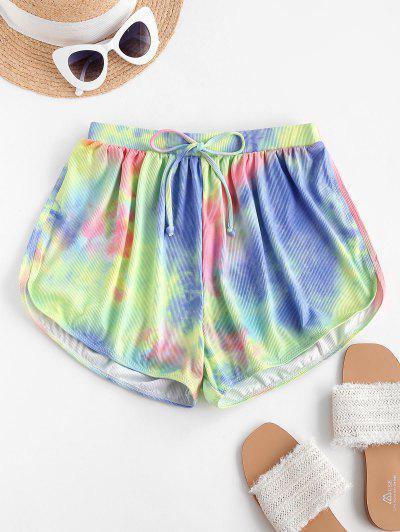ZAFUL Tie Dye Ribbed Bowknot Boy Leg Swim Bottom - Multi M