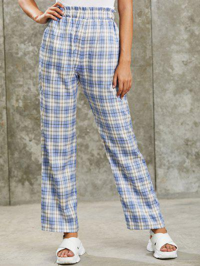 ZAFUL Grunge High Rise Plaid Paperbag Palazzo Pants - Cornflower Blue M