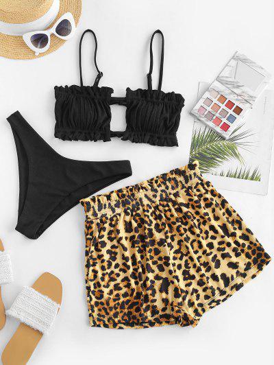 ZAFUL Leopard Ruffle Ribbed Three Piece Bikini Swimwear - Black M