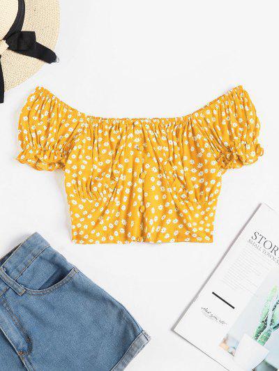 ZAFUL Ditsy Print Button Embellished Ruffle Crop T-shirt - Yellow L