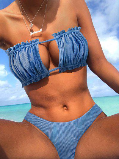 ZAFUL Ribbed Tie Cutout Bandeau Bikini Swimsuit - Silk Blue M