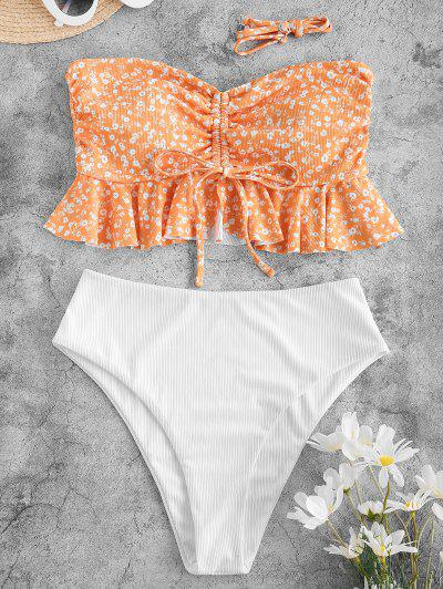 ZAFUL Ribbed Ditsy Print Cinched Peplum Tankini Swimwear - Sandy Brown M