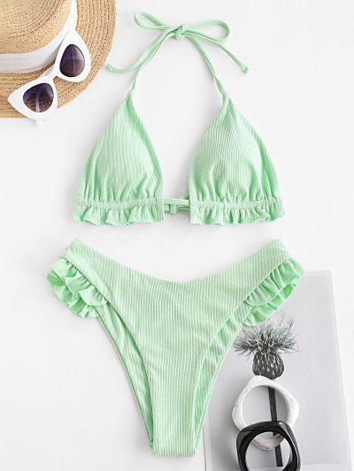 ZAFUL Ribbed Ruffle Halter Bikini Swimwear - Mint Green S