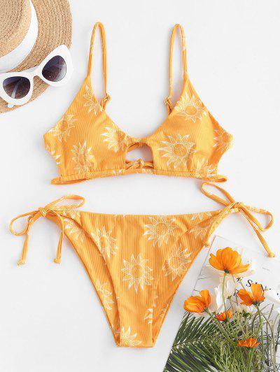 ZAFUL Star Moon Sun Print Cutout Ribbed String Bikini Swimwear - Yellow M