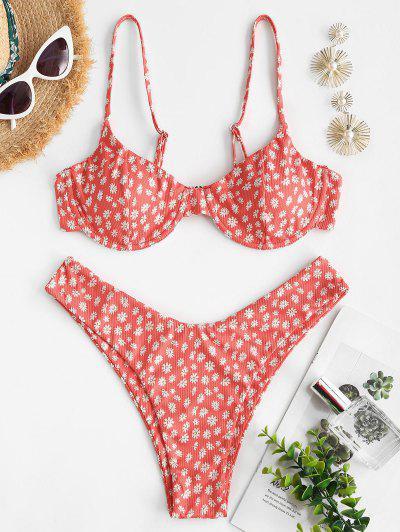 ZAFUL Daisy Print Ribbed High Leg Bikini Swimwear - Red L