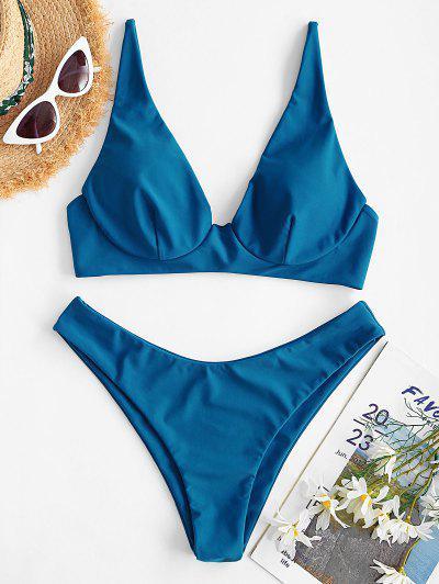 ZAFUL Maillot De Bain Bikini - Bleu L