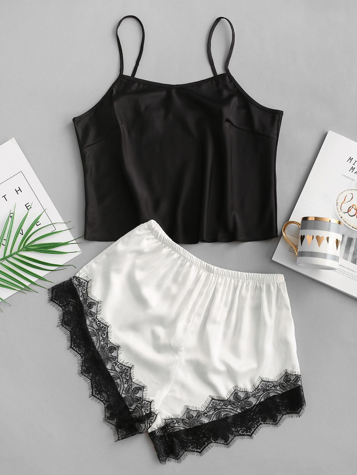Lace Insert Silky Pajama Shorts Set