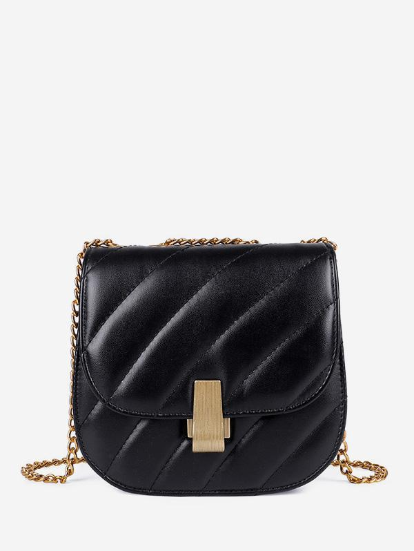 Chain Quilted Crossbody Saddle Bag