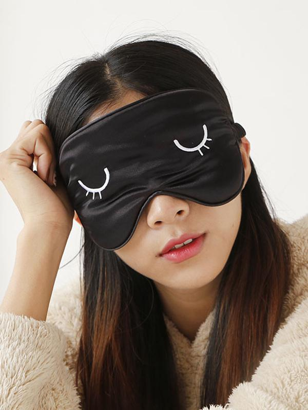 Eye Pattern Embroidered Satin Sleeping Eye Mask