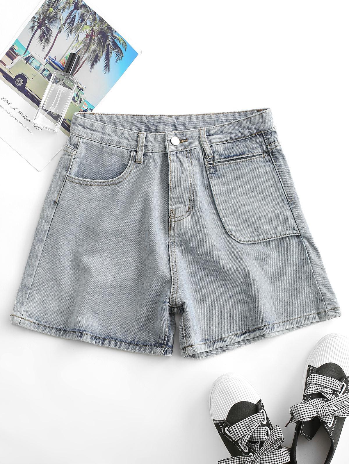 Denim Wide Leg High Waisted Shorts