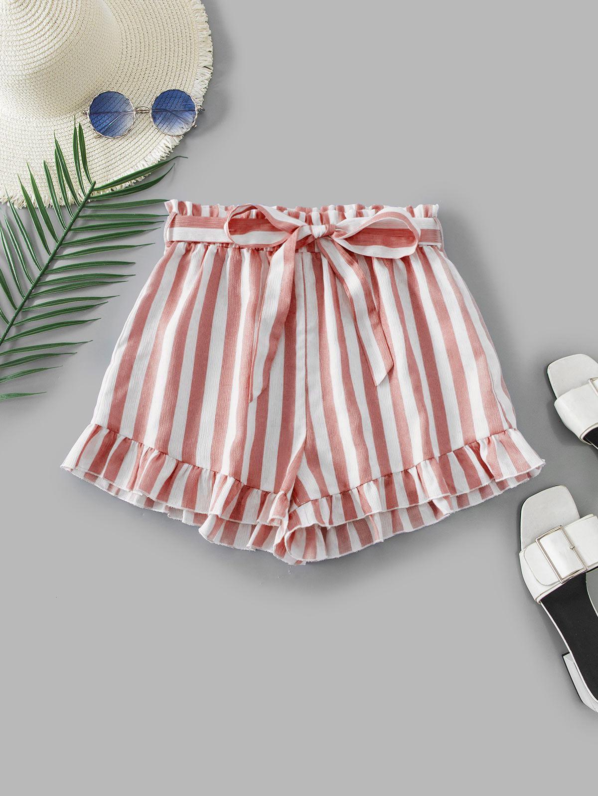 ZAFUL Ruffle Hem Striped Paperbag Shorts