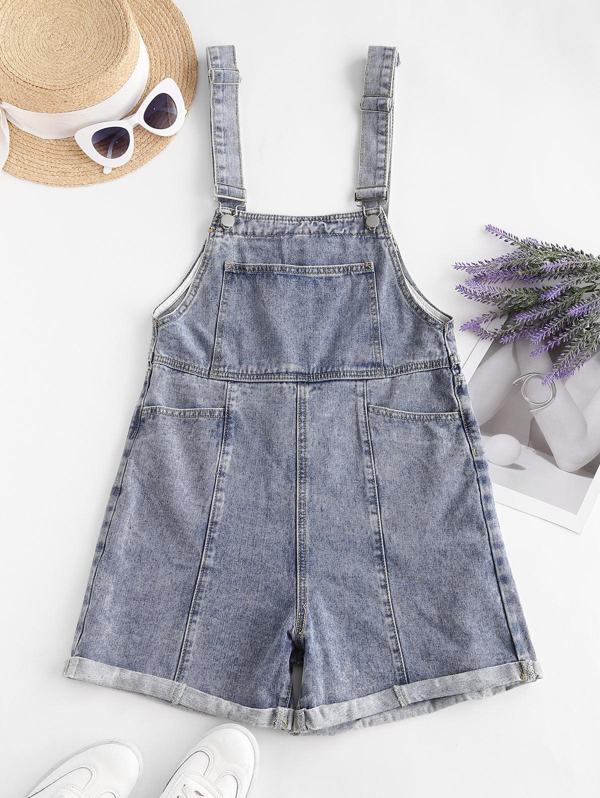 Denim Cuffed Hem Pockets Overalls Romper