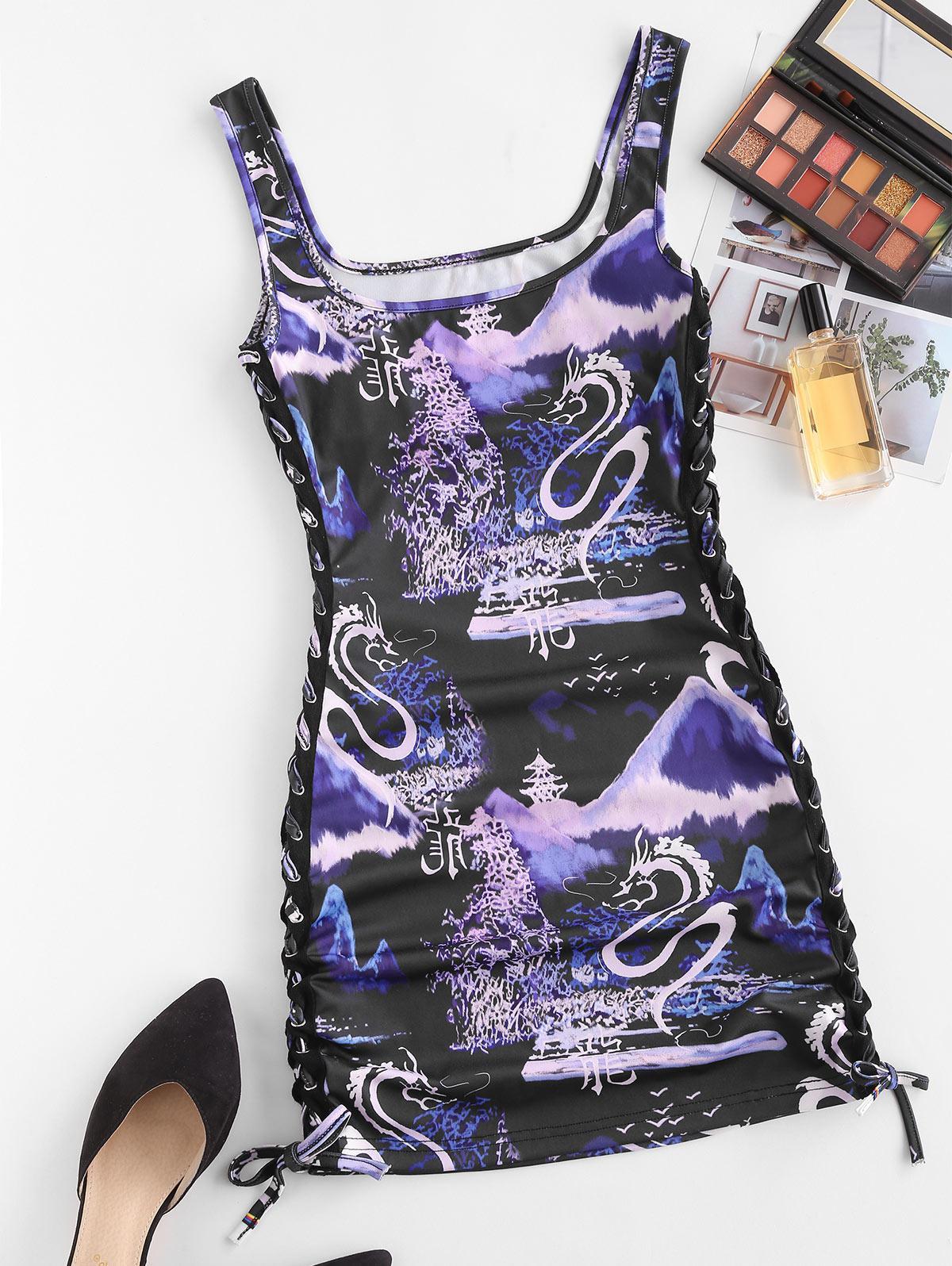 Oriental Dragon Print Side Lace-up Bodycon Tank Dress