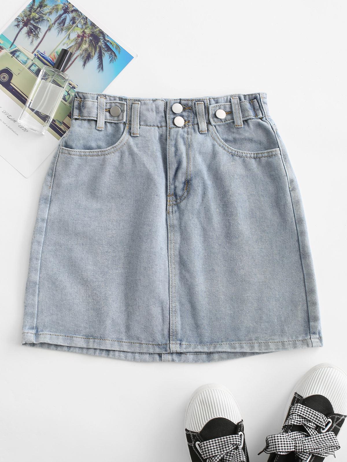 Buttoned Tab Denim Paperbag Skirt