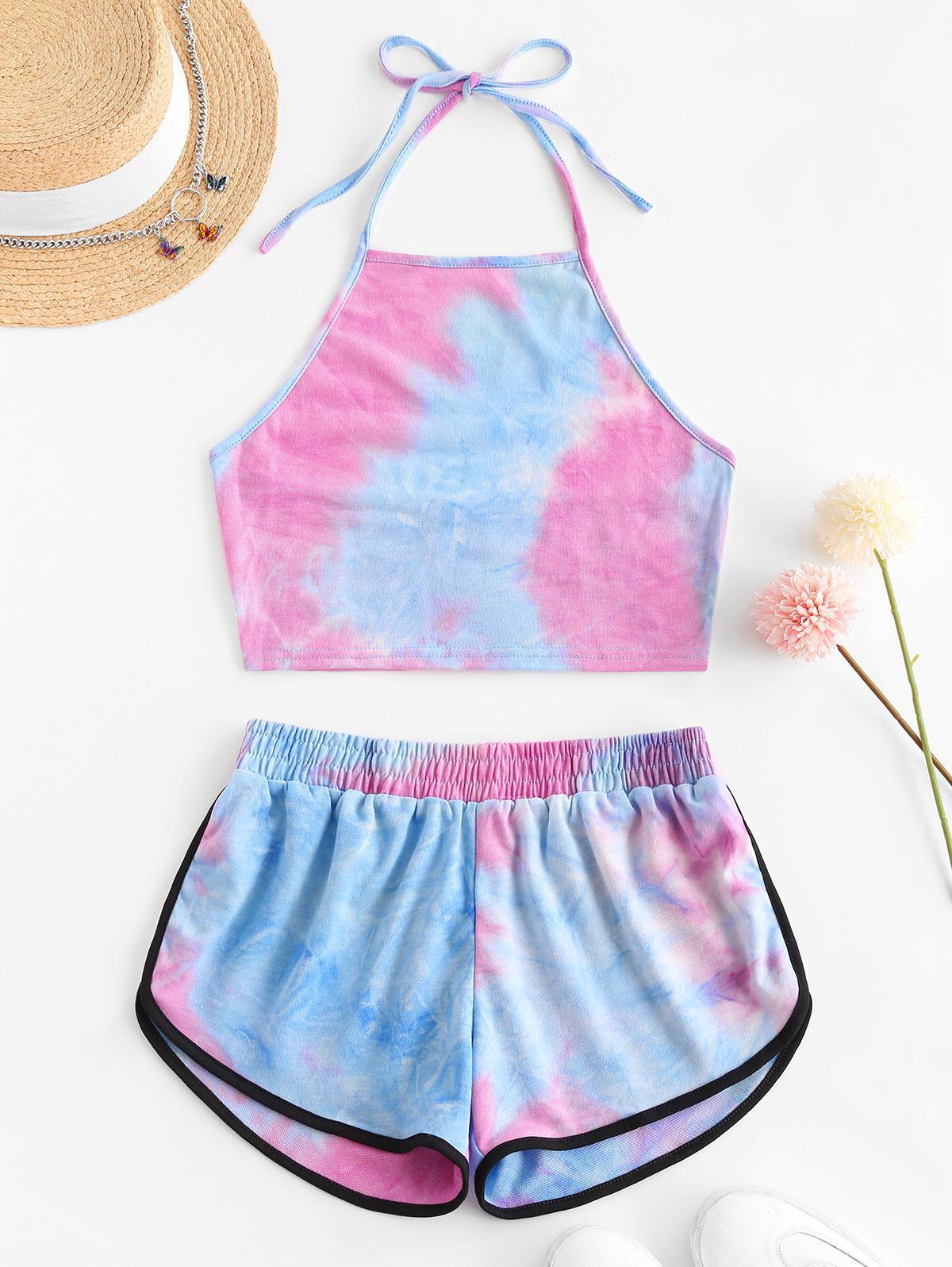 Two Piece Halter Tie Dye Dolphin Shorts Set