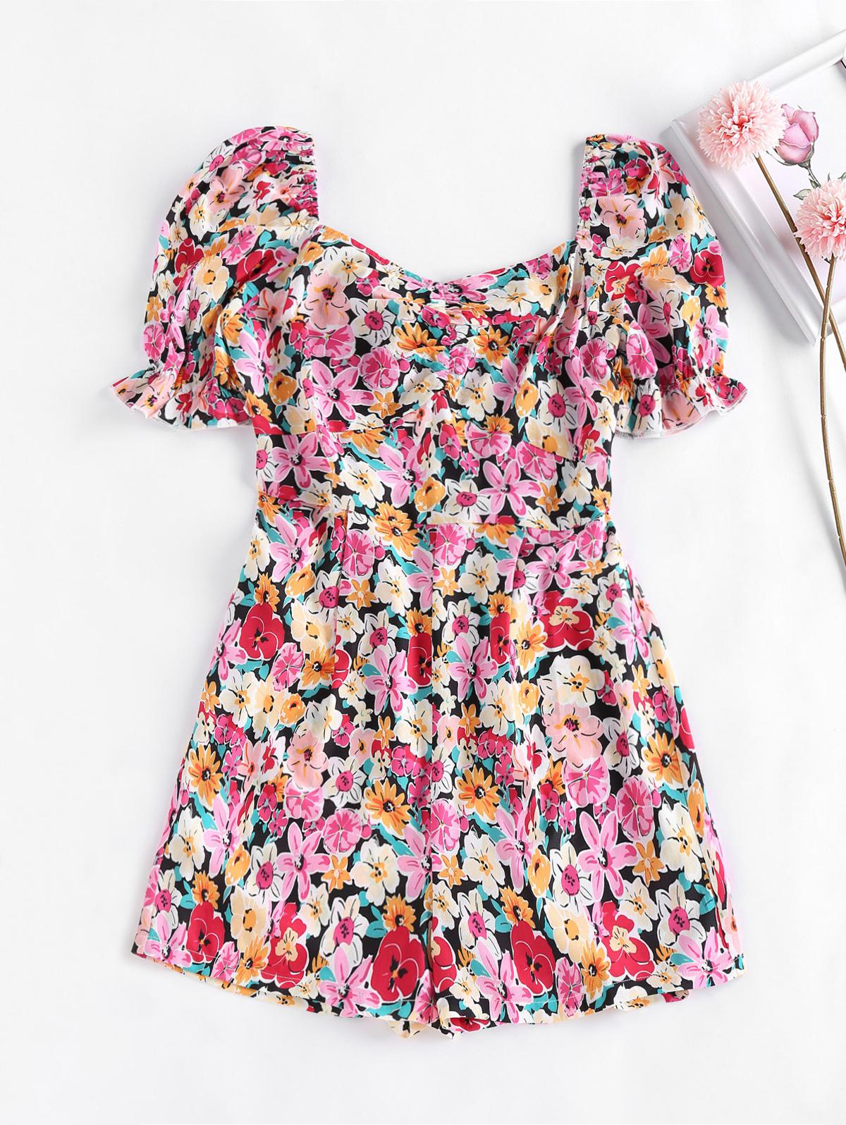 ZAFUL Smocked Puff Sleeve Floral Romper