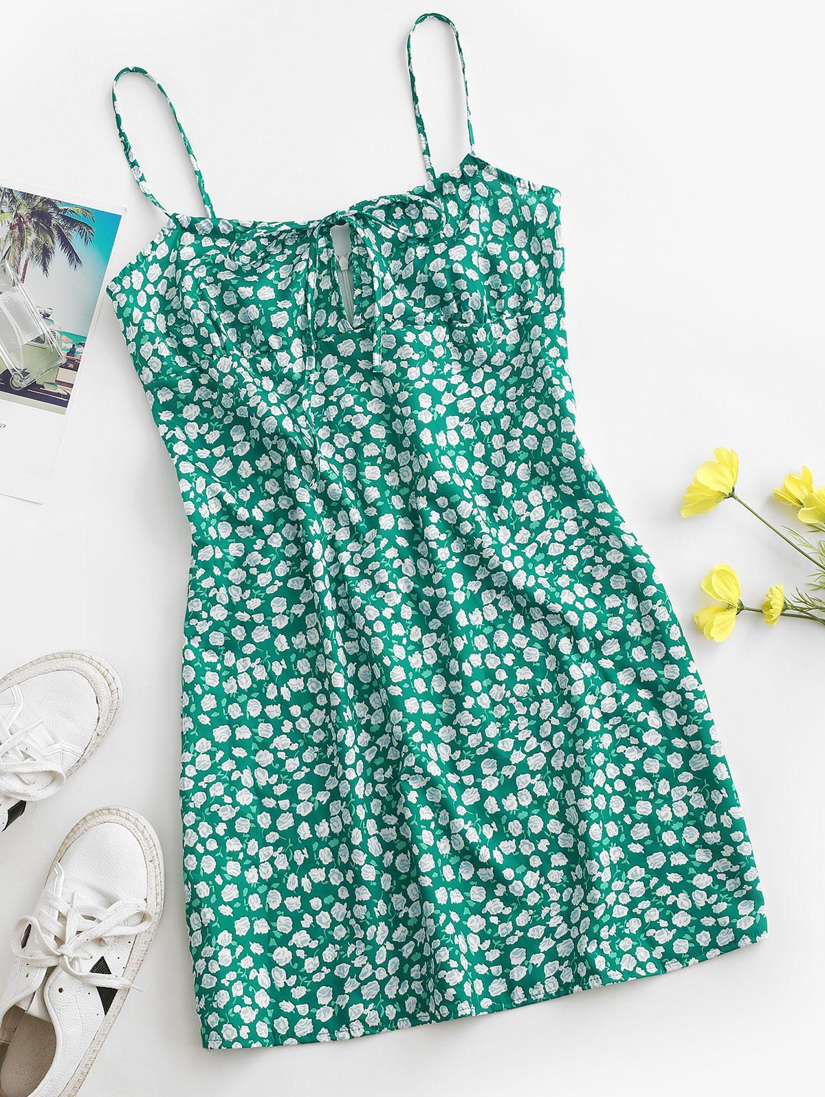 Rose Tie Collar Cami Mini Dress