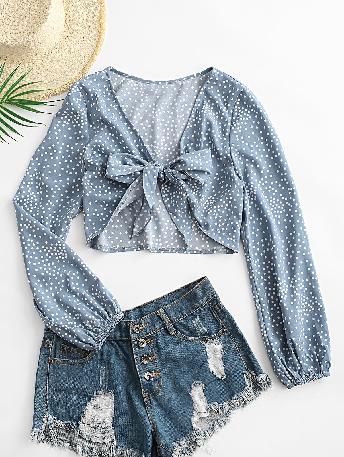 ZAFUL Polka Dot Knotted Plunge Blouse
