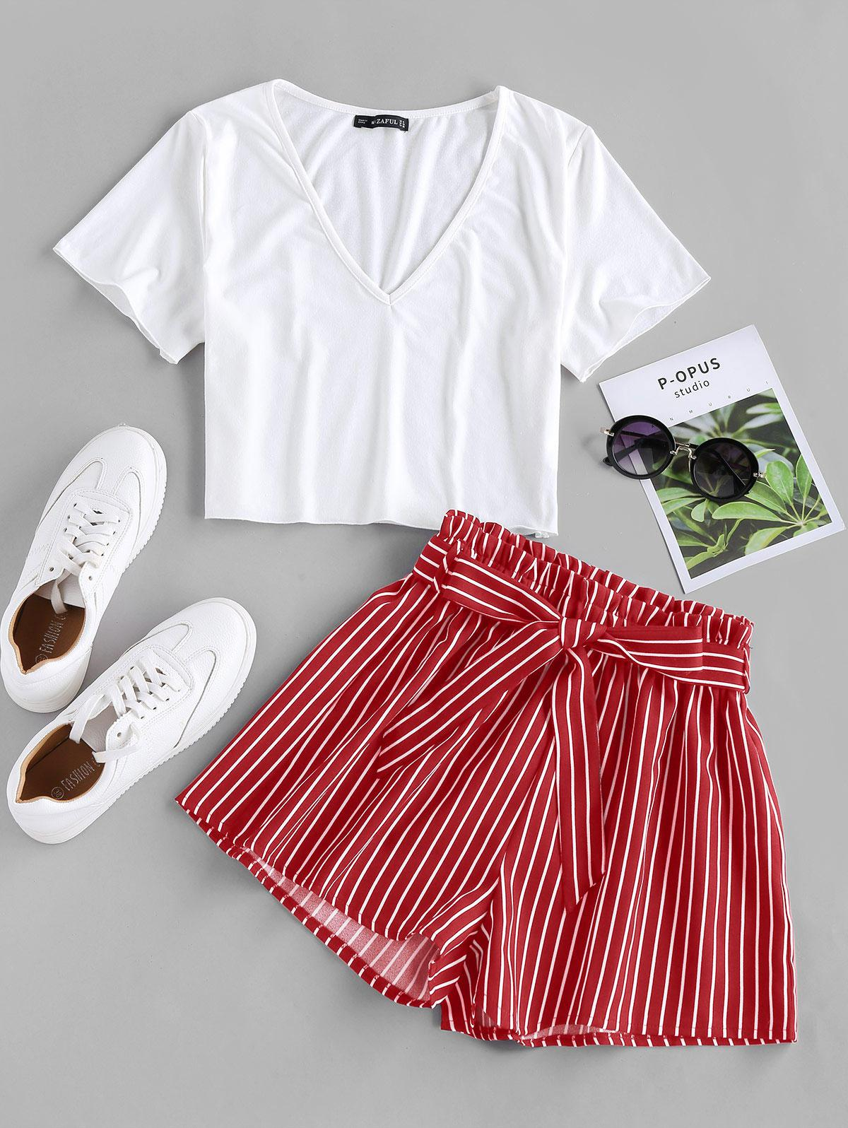 ZAFUL Belted Striped Two Piece Set