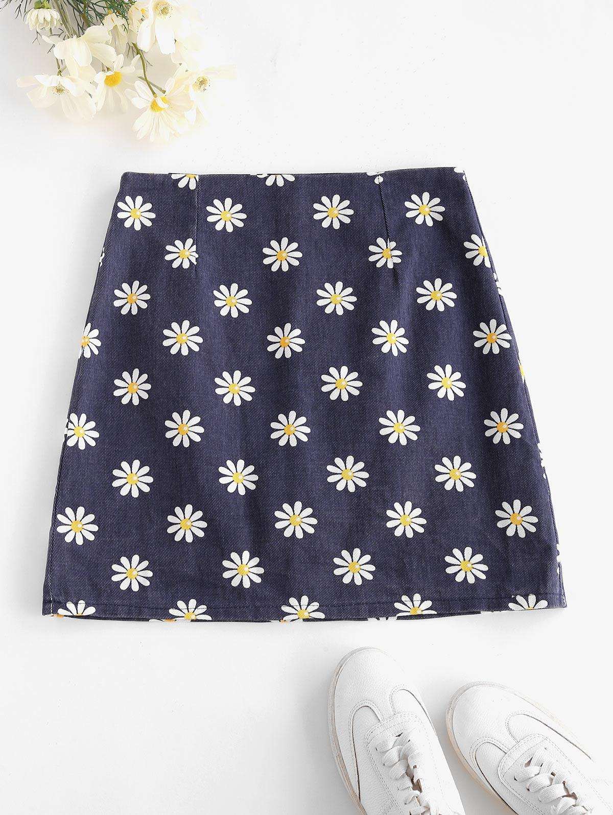 Back Zipper Floral Mini Skirt