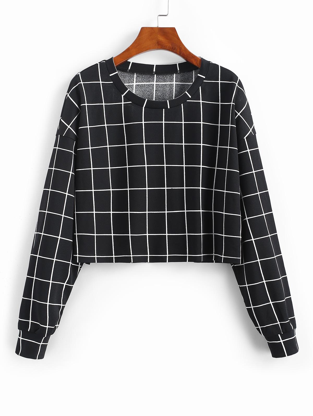 ZAFUL Sweat-shirt à Carreaux Imprimé S - Zaful FR - Modalova