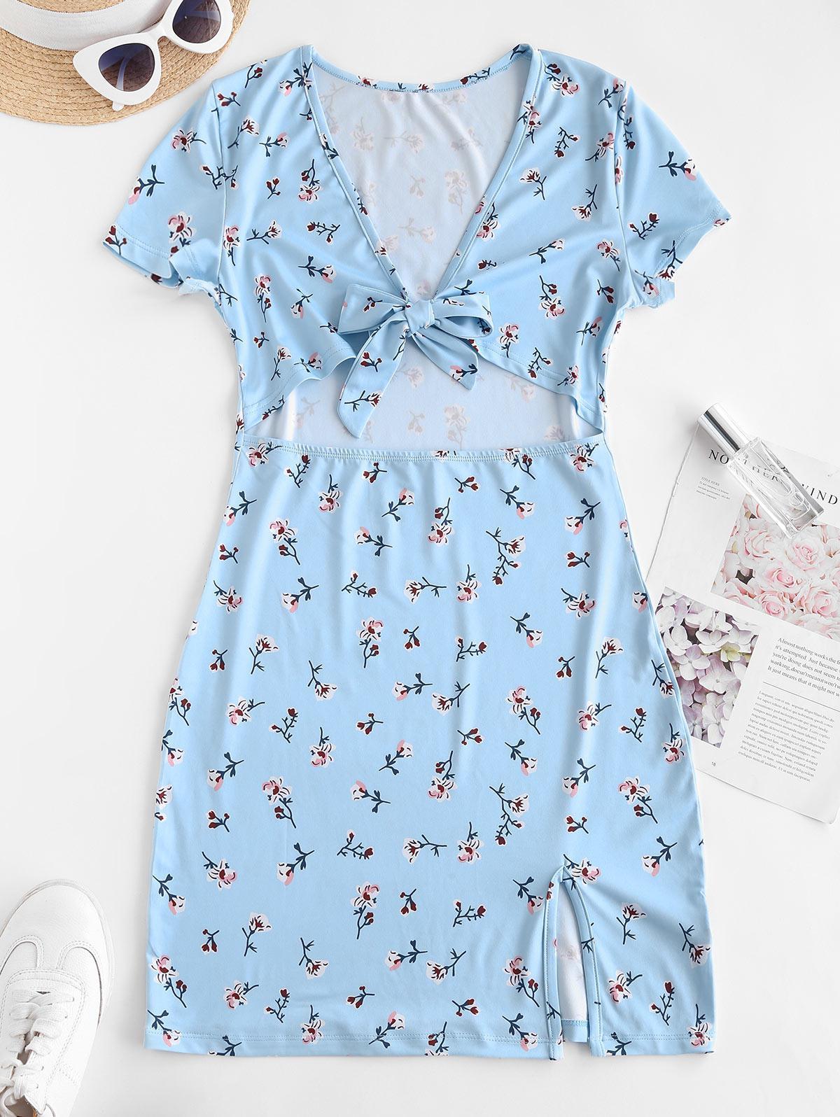 Tiny Floral Tie Front Cut Out Slit Mini Dress