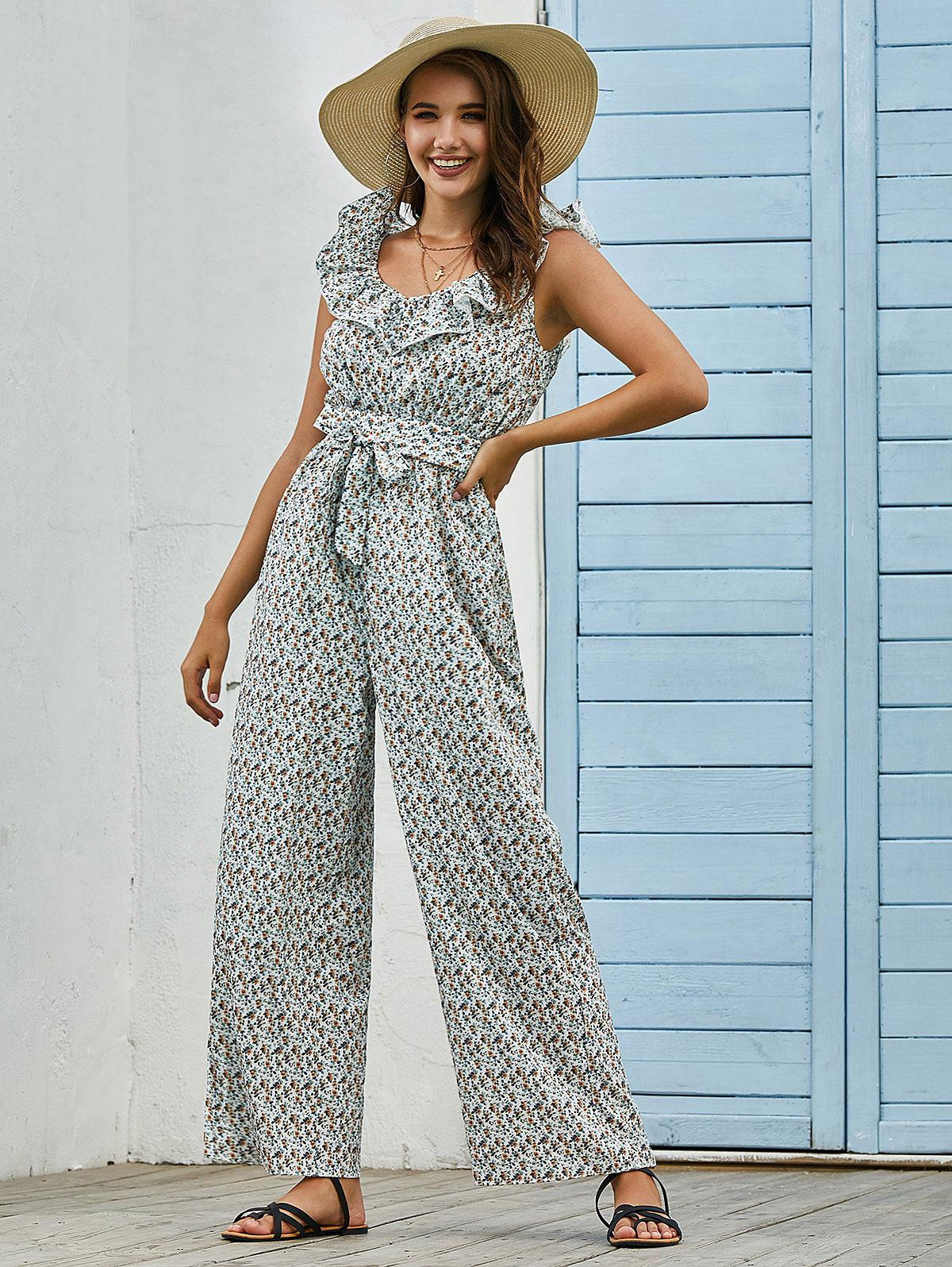 Belted Ruffles Ditsy Floral Wide Leg Jumpsuit