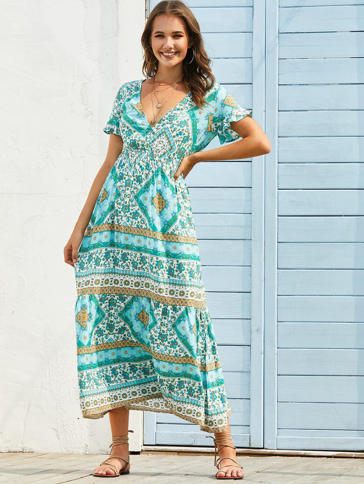 Bohemian Floral Print Plunge Neck Maxi Dress