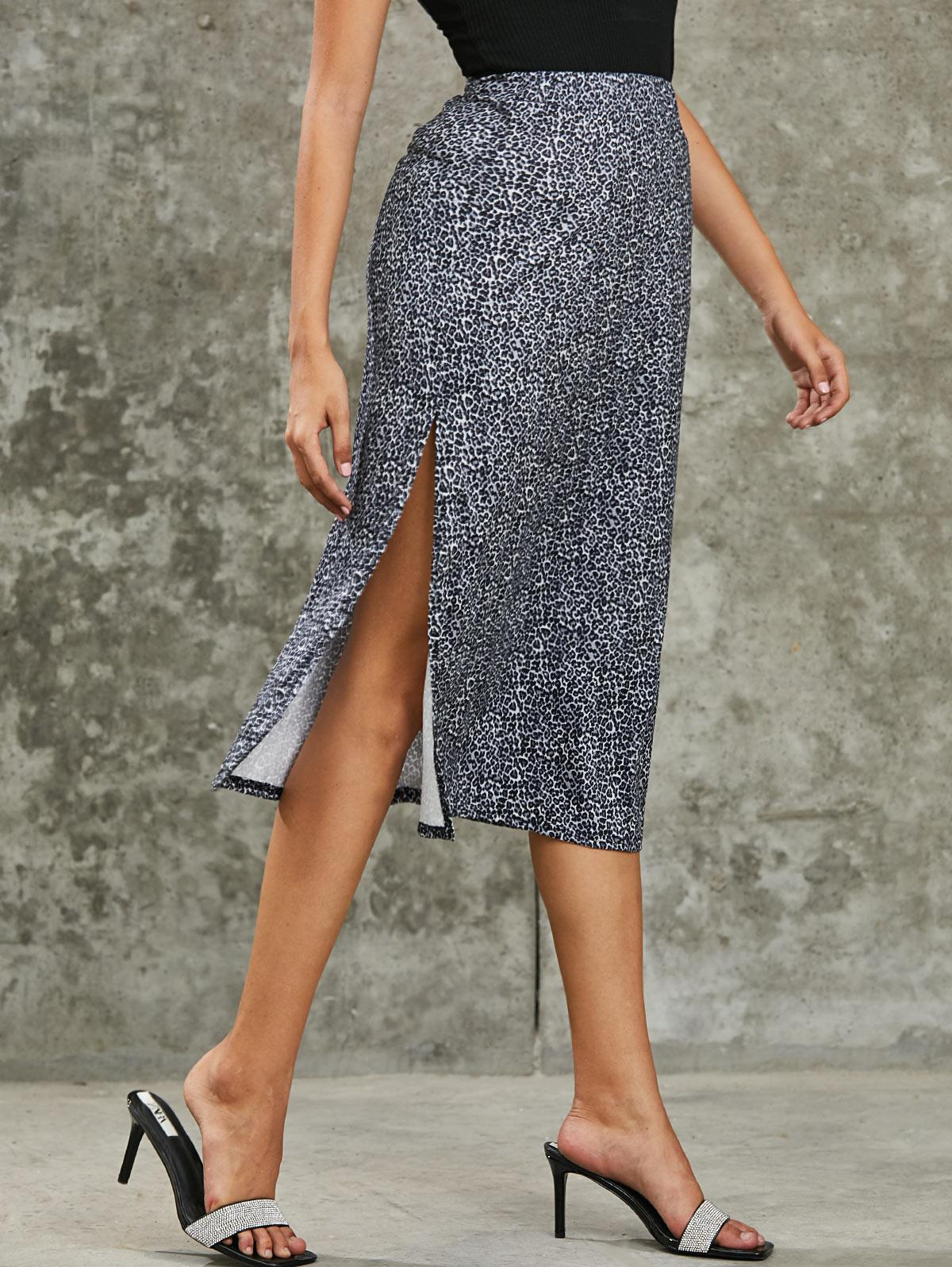 Slit Leopard Ditsy Floral Midi Skirt