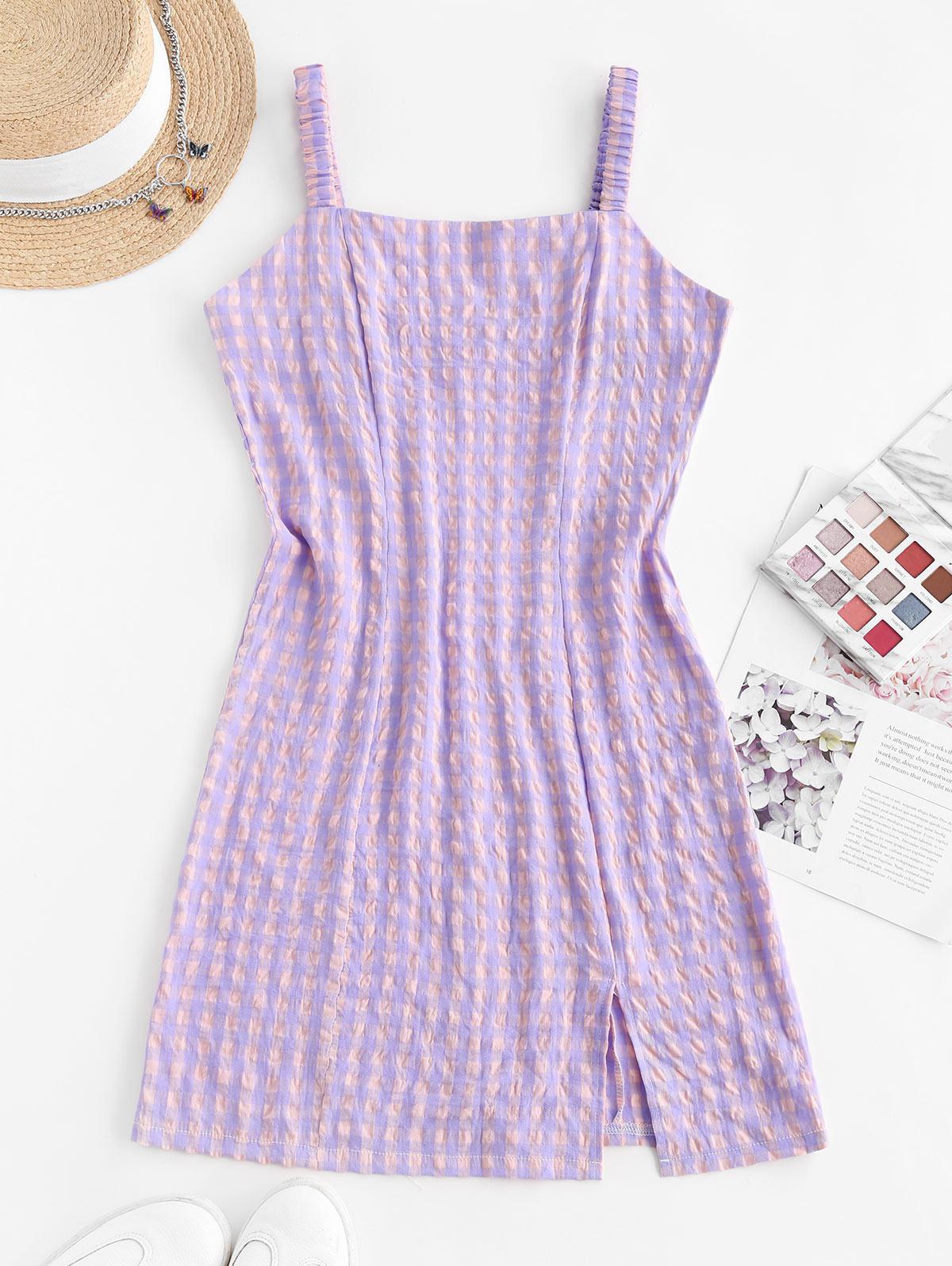 Front Slit Plaid Smocked Back Mini Dress