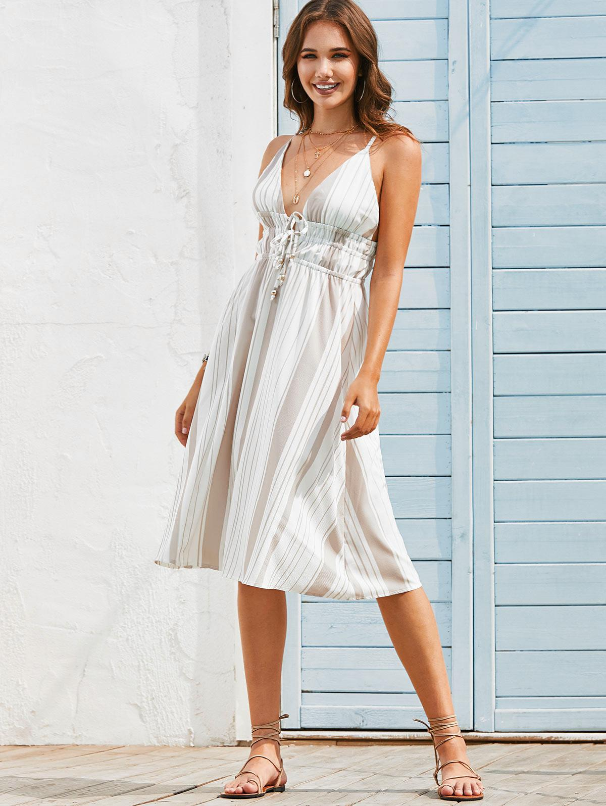 Tie Front Stripes Open Back Cami Dress