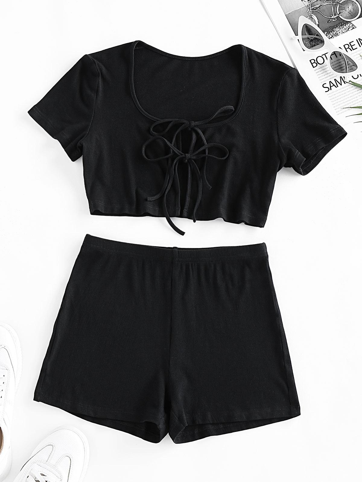 ZAFUL Tie Front High Waisted Ribbed Shorts Set