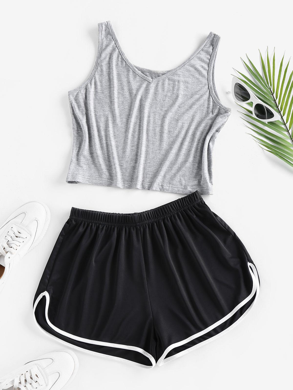 ZAFUL V Neck Colorblock Shorts Set