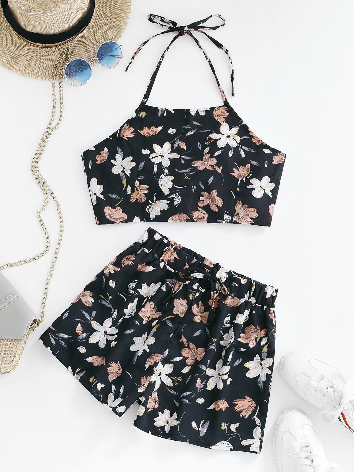 Flower Print Halter Knotted Two Piece Set