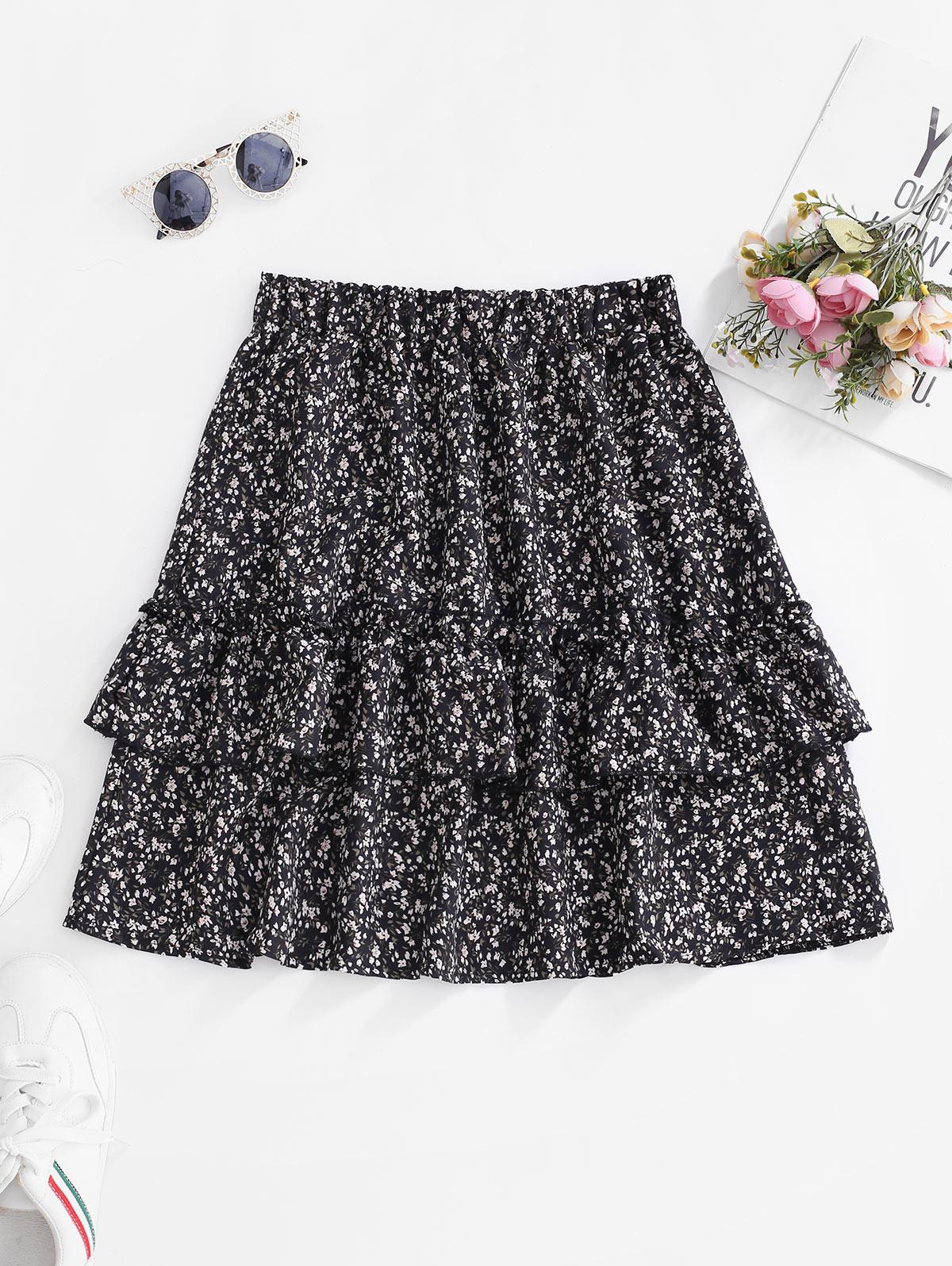 Ditsy Floral Flounce Frilled Mini Skirt