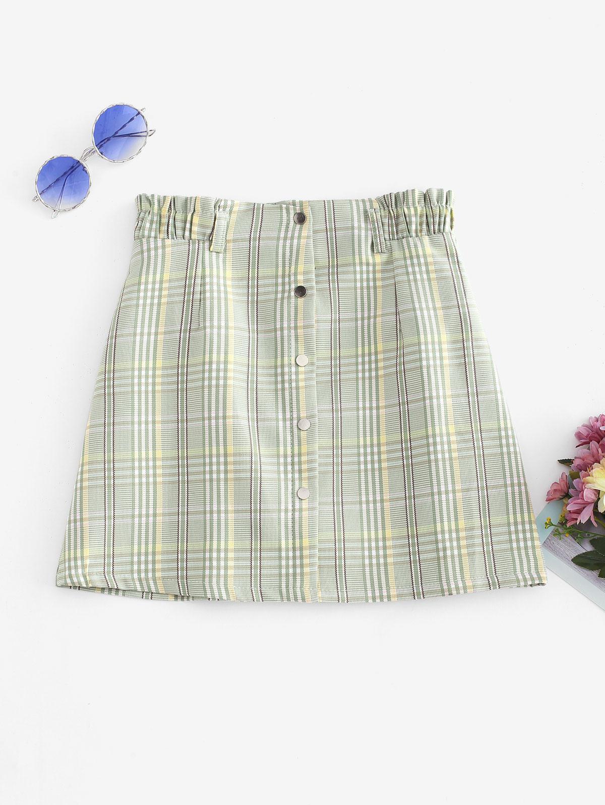 Plaid Mock Button A Line Mini Skirt